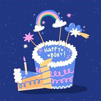 토퍼와 함께 손으로 그려진 된 생일 케이크