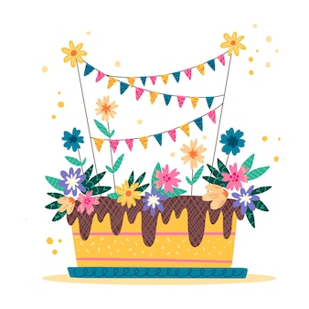 토퍼가 있는 손으로 그린 생일 케이크