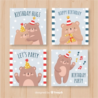 Hand drawn birthday card set with bears