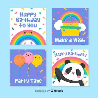 Hand drawn birthday card set