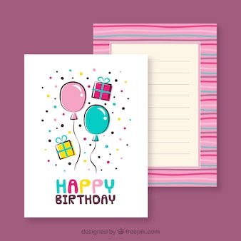 Hand drawn birthday card with balloons and confetti