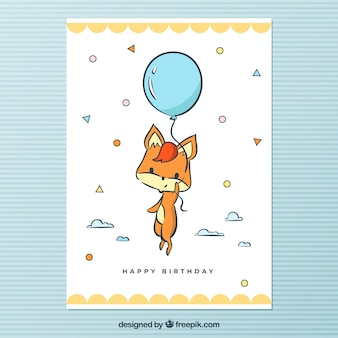 Hand drawn birthday card with a fox