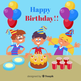 Hand drawn birthday children background