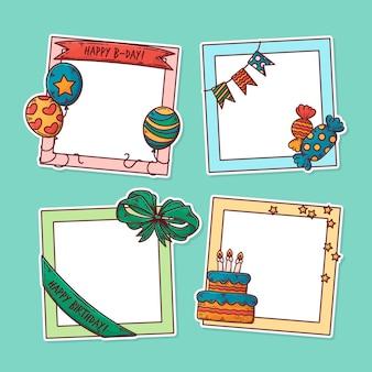 Collezione di frame collage compleanno disegnati a mano