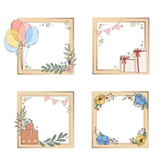 Коллекция рисованной коллажей на день рождения