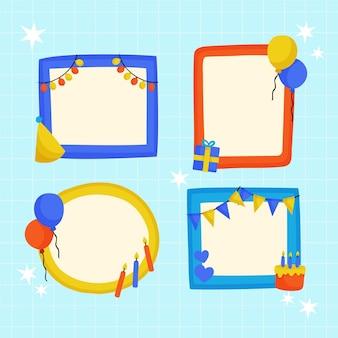 手描きの誕生日のコラージュフレームコレクション