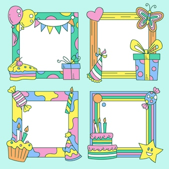 Hand drawn birthday collage frame collection