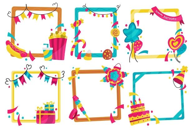 手描きの誕生日のコラージュフレームの選択