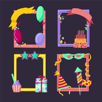 Набор рисованной коллаж с днем рождения