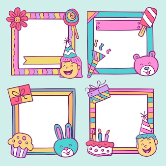 Hand drawn birthday collage frame set