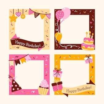 Hand drawn birthday collage frame with cake