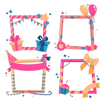Hand drawn birthday collage frame with gifts