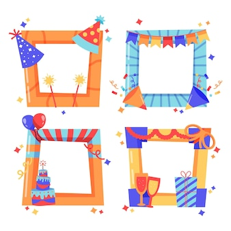 Hand drawn birthday collage frame with party hats