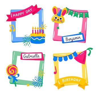 Набор рисованной коллажей на день рождения