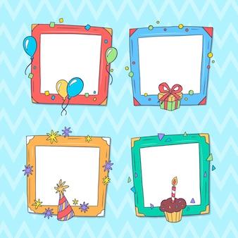 Нарисованные рукой рамки коллажа дня рождения Бесплатные векторы
