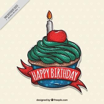 Hand drawn birthday cupcake background