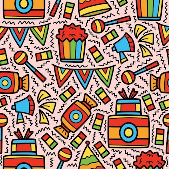 Hand drawn birthday doodle cartoon pattern design