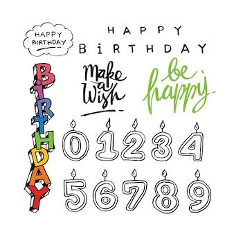 Hand drawn birthday doodles
