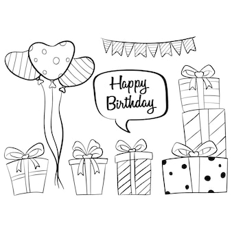 Hand drawn birthday elements collections with balloon and gift box on white