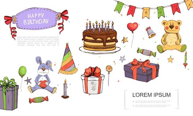 Нарисованная рукой концепция элементов дня рождения с игрушками медведя и кролика, подарочные коробки, леденцы, леденцы, свечи, колокольчики, воздушные шары, гирлянда, звезды, иллюстрация