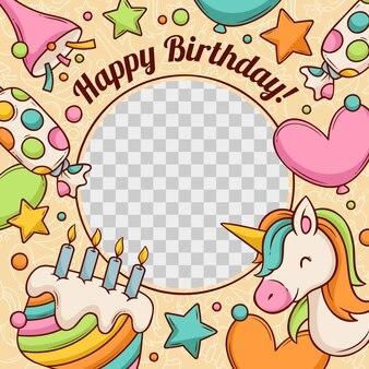 Hand drawn birthday facebook frame