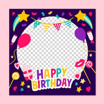 手描きの誕生日のfacebookフレーム