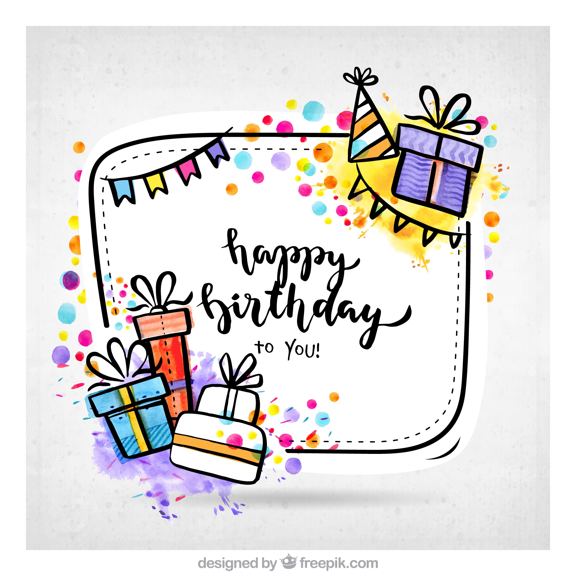 Hand drawn birthday gifts background