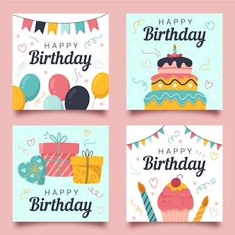Коллекция рисованной поздравительной открытки на день рождения