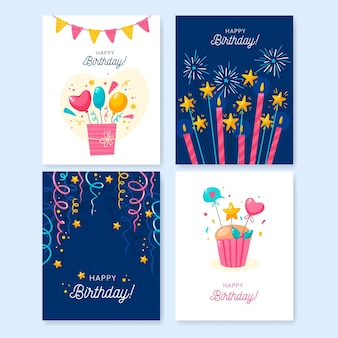 Hand drawn birthday greeting card collection