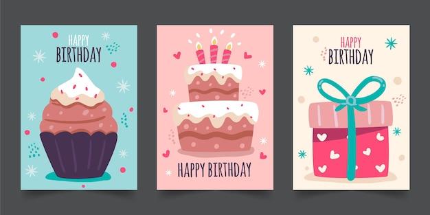 손으로 그린 생일 인사말 카드 컬렉션