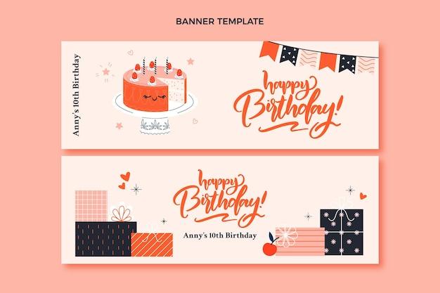 Hand drawn birthday horizontal banners