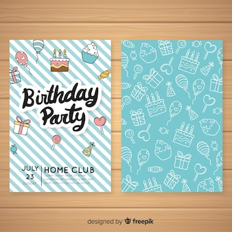 Hand drawn birthday invitation template Premium Vector