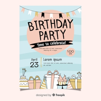 Hand drawn birthday invitation template