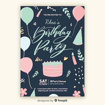 Hand drawn birthday invitation template