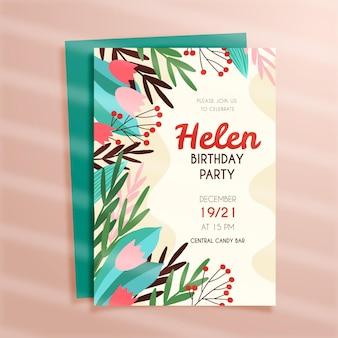 Modello di invito compleanno disegnato a mano