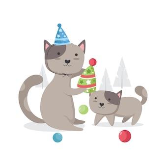 手描きの誕生日の子猫