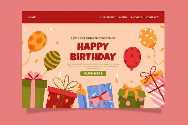 Modello di pagina di destinazione di compleanno disegnato a mano