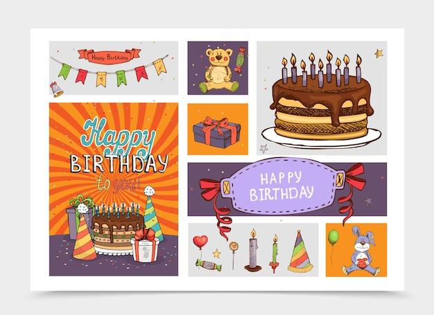 Нарисованные от руки элементы вечеринки по случаю дня рождения с игрушками медведя и кролика, подарочные коробки для торта, шляпа, леденцы, воздушные шары, гирлянда, свечи, иллюстрация конфет