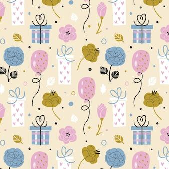 気球とギフトボックスと手描きの誕生日のパターン