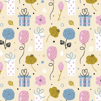 Hand drawn birthday pattern with air balloon and gift boxes