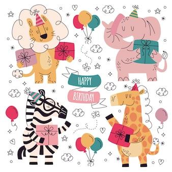 Collezione di adesivi di compleanno disegnati a mano