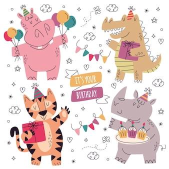 手描きの誕生日ステッカーコレクション