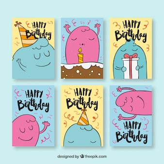 Hand drawn bithday cards collection