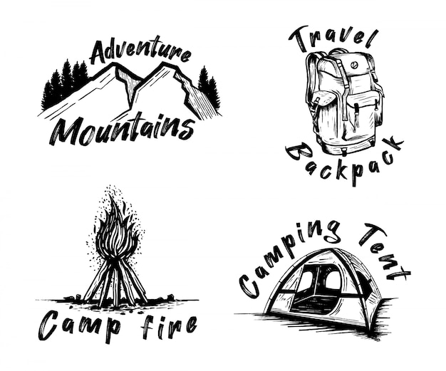 Hand drawn black adventure logo elements set collection