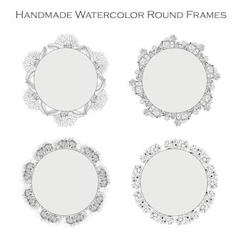 손으로 그린 흑백 원형 꽃 프레임 컬렉션