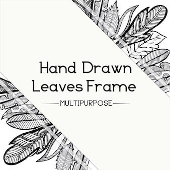 손으로 그린 흑백 꽃 프레임 디자인