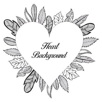 Рисованные черно-белые цветочные сердца