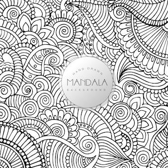 손으로 그린 흑백 꽃 만다라 패턴 배경