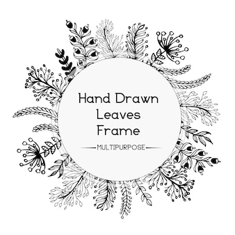 손으로 그린 흑백 꽃 둥근 프레임 디자인
