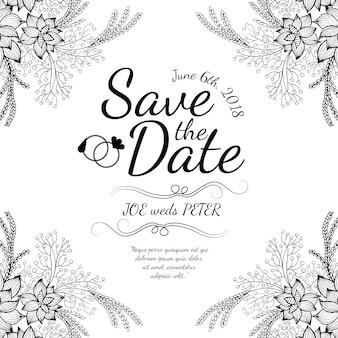 Рисованная черно-белая цветочная свадебная открытка-приглашение